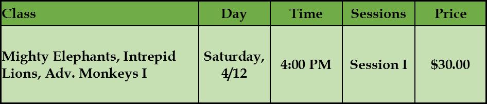 Jungle Challenge Schedule